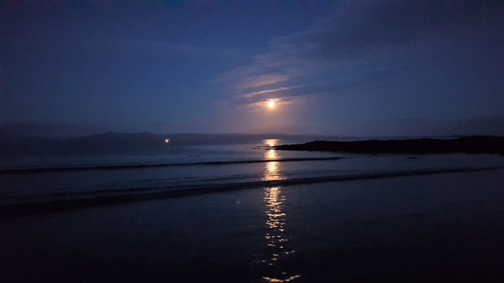 Eva Wolfram, from Campbeltown, sent the Courier this photograph, taken from Peninver, of the nearly full moon rising above Arran last Friday evening.