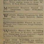 The 'wanted' column in the Courier was the place in 1920 to get anything from a farm hand who was good with drains to a house for a week for Glasgow Fair. Employers could stipulate the marital status of their workers - was it because there would be casual work for a wife and children or was it that they didn't want wild young ploughboys who would go out and get drunk?