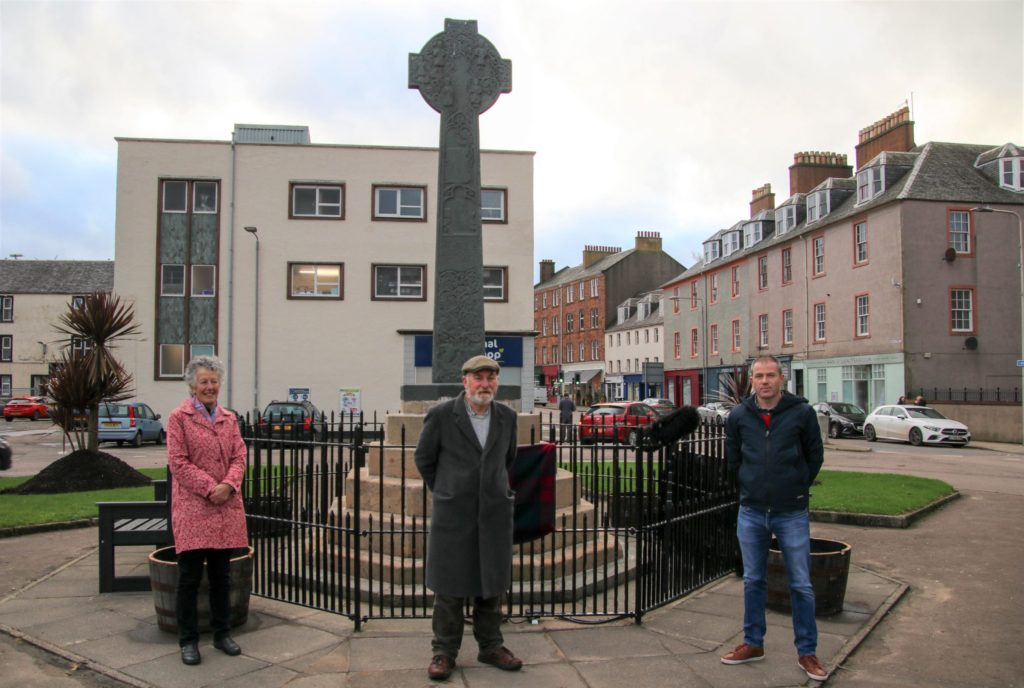 From left: Catherine Dobbie, Angus Martin and James Lafferty at the small ceremony marking the completion of the works.