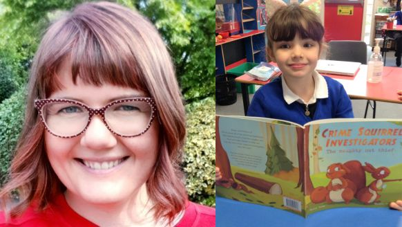 One of Clachan Primary School's pupils, right, with a copy of the book from which author Emily Dodd, left, read.