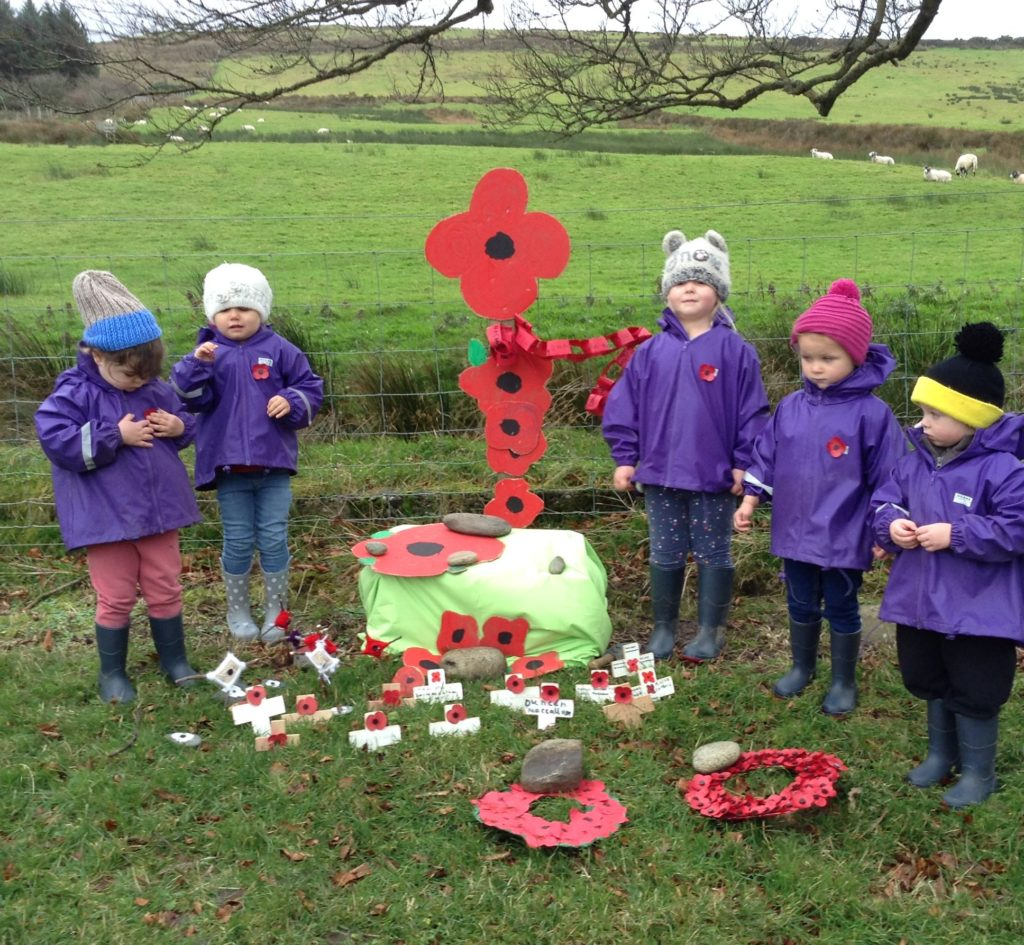 The nursery children during the Remembrance ceremony.