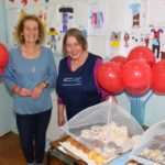 Margaret Sinclair, treasurer of the Mairi Semple Fund, and Pauline Simson, the group's chairperson, worked hard serving soup, rolls and sweet treats. 50_c39crafters06_margaret sinclair and pauline simson