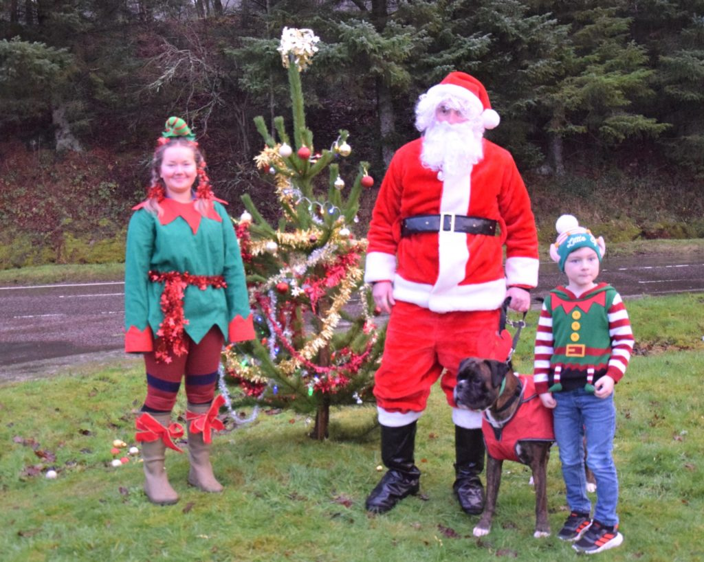 Santa and his helpers during their visit to Tayinloan.