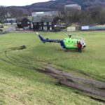 The site where the helicopter currently lands is often water-logged and muddy.