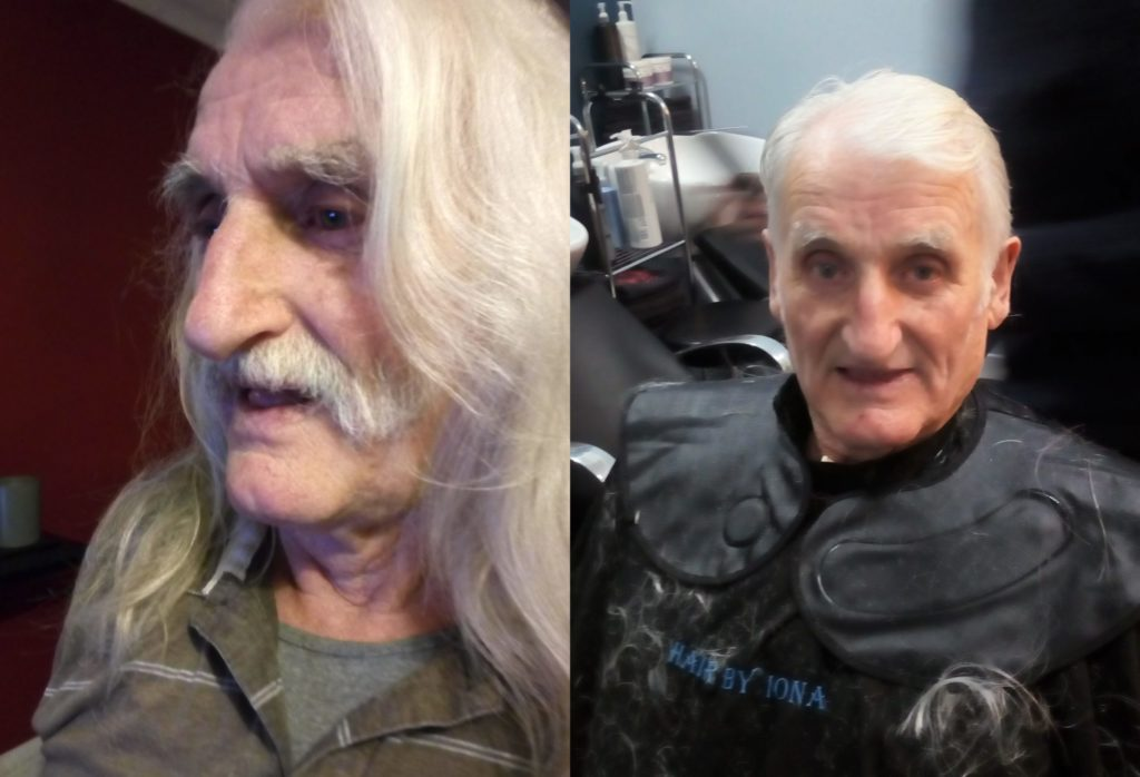 Before and after: Neil, left, sporting his luscious long locks and, right, after getting the chop.