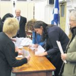 In 2010: Counting votes after the Machrihanish airbase buyout ballot.