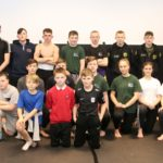 The members of Core MMA Campbeltown who took part in Friday's fight night with Jimi McCallum, left, Warren Tait, back right, and Sarah Livingston, front right.