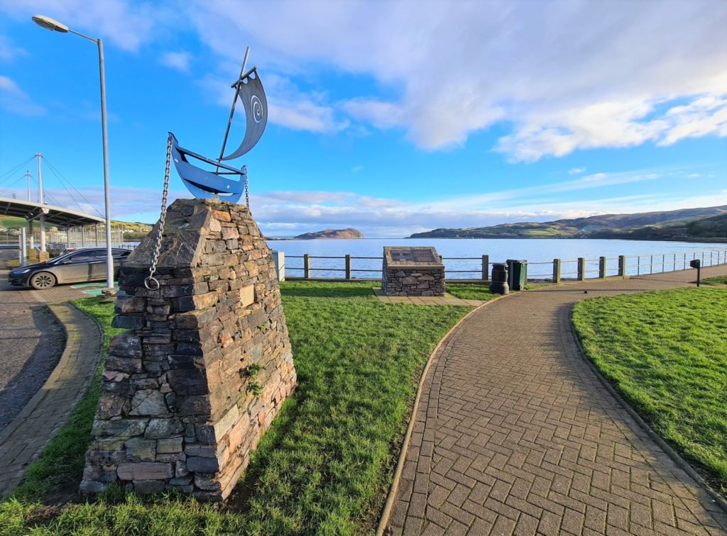 The Ro-Ro sculpture of a birlinn-style boat which sits atop a stone plinth near Campbeltown's New Quay.