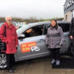 From left: Margaret Pratt from West Kintyre Community Fund, Susan Paterson from Shopper-Aide and Alistair Gorman from Campbeltown Motor Company with the new vehicle.