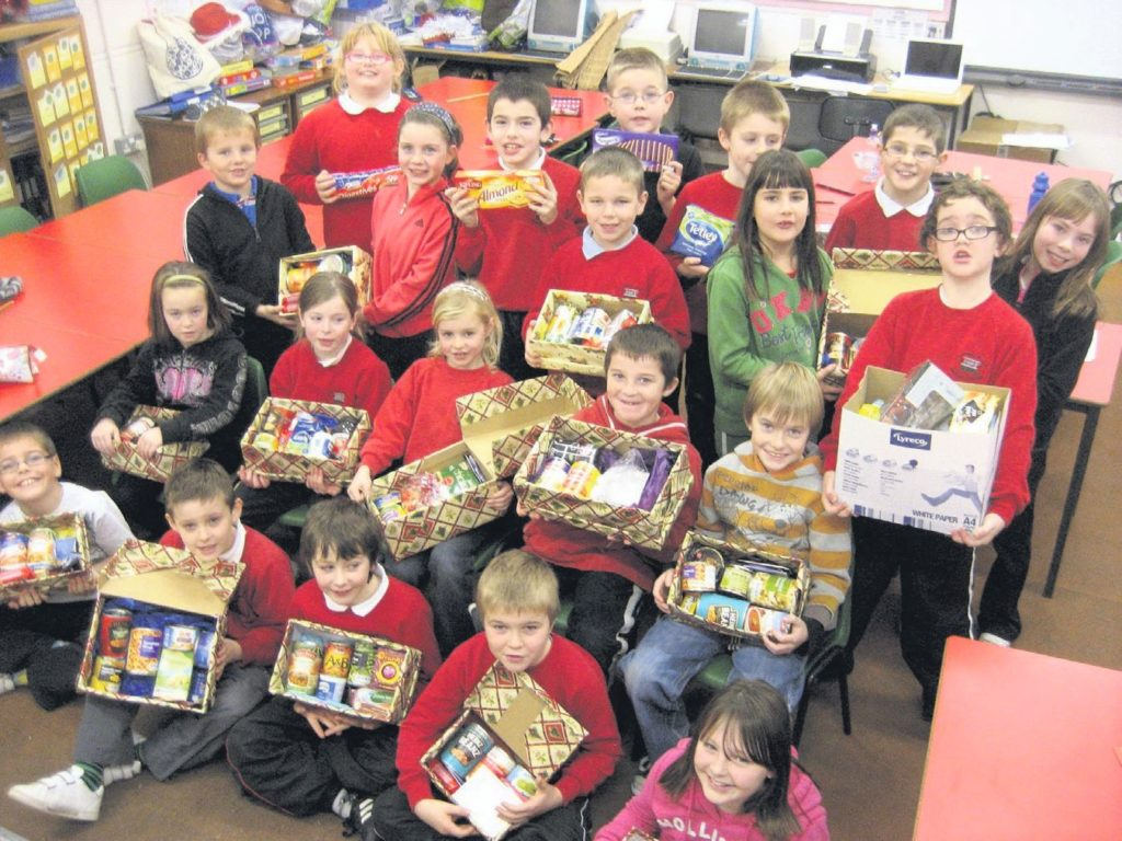 In 2011: Primary 4 pupils at Dalintober Primary School were thinking of others when they made up food boxes for the Salvation Army Food Parcel Appeal.