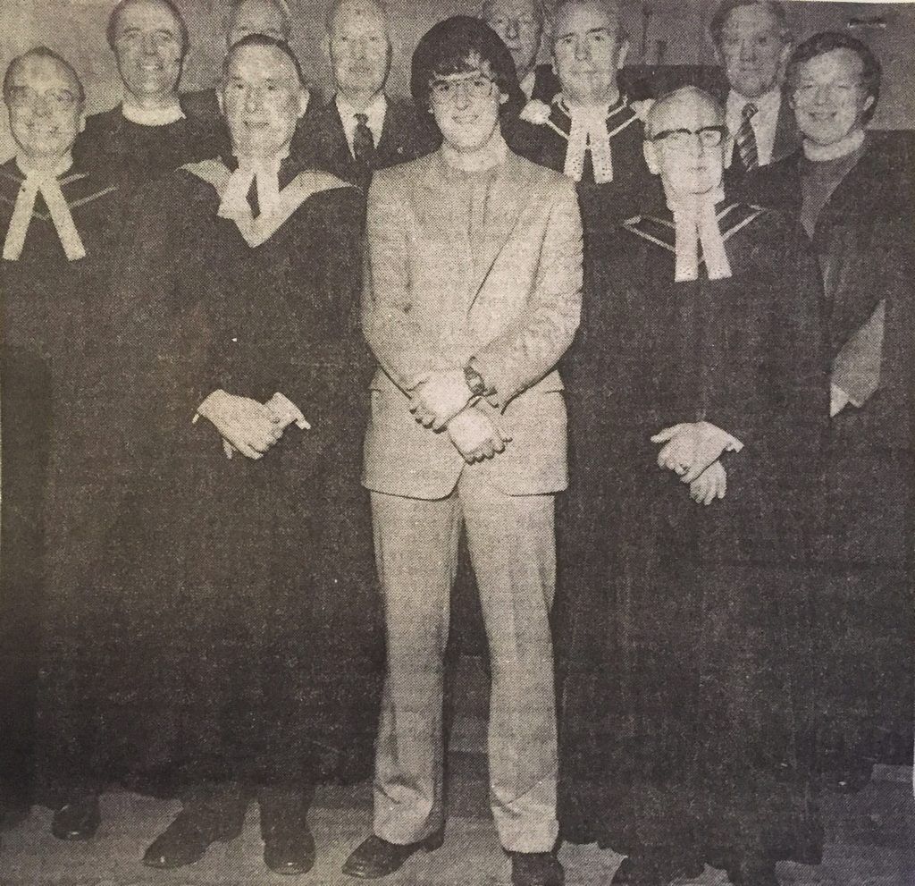 Rodger Crooks, centre front, with the Presbytery Commission at his ordination in 1981.