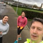 Tracy Chambers, left, and Sarah McFadzean, middle, joined David Brown his first run of November.