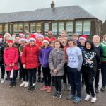 P6 pupils from Castlehill Primary School about to set off on their 5K Santa dash.