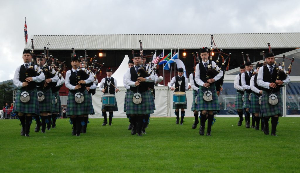 Mid Argyll Pipe Band enters the Cowal Games competition arena in 2017