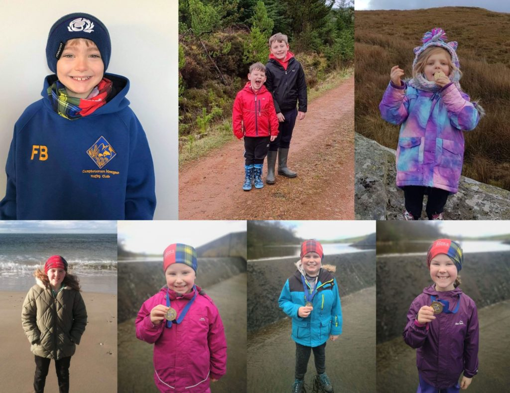 Some of the Kintyre youngsters who took part in the Doddie AID challenge. They are, top row, from left: Finlay Blair, James McLean and Harry Martin, and Grace McCoubrey. Bottom: Hannah McLellan, Kahlan Smiley, Kurt Smiley and Mia McConnachie.