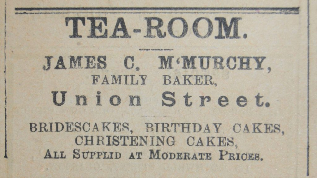 An advert from 1926. Does anyone remember the Neil Munro story about Para Handy and the bridescake in the window of a Campbeltown baker's? Perhaps it was James C McMurchy's.