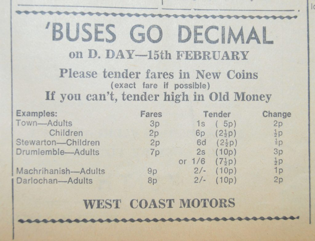 In 1971, West Coast Motors placed advertisements in the Courier explaining to confused passengers how the new decimal currency worked.