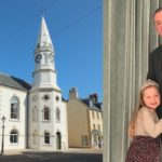 CARS officer James Lafferty and his daughter Lola, right, alongside Campbeltown Town Hall, one of the buildings which has been restored over the last 14 years, leading to the town's success at the SURF Awards.