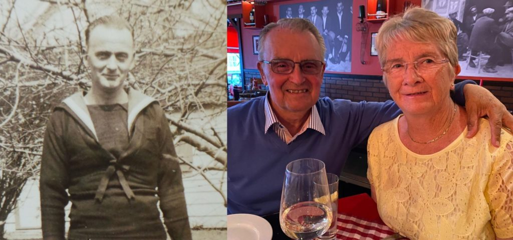 Les McArthur and his wife Christine, right, and the photograph of Dugald, courtesy of Guru Finder, that Les instantly recognised as his father, left.