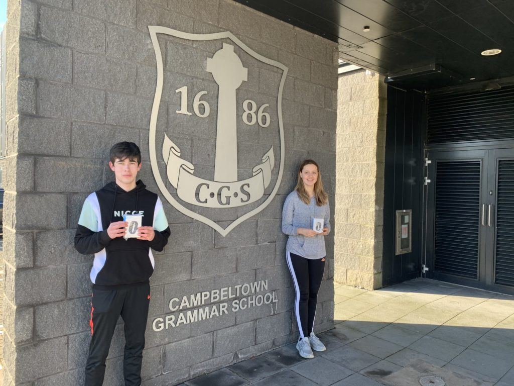The winners of fitness tracker watches at Campbeltown Grammar School were Kyle Paterson and Iona Renton.