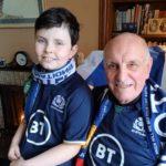 Jack Tait-Bennett and his grandad Bob Tait watching last Sunday's match.