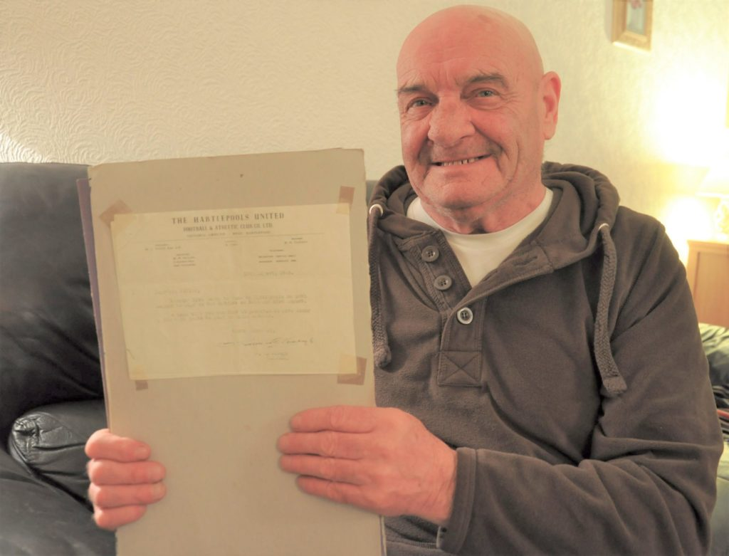 Photographed in 2015, Tommy 'Iron Man' Kelly shows off the letter from Brian Clough for his former boss, asking if he can get time off for a second trial.