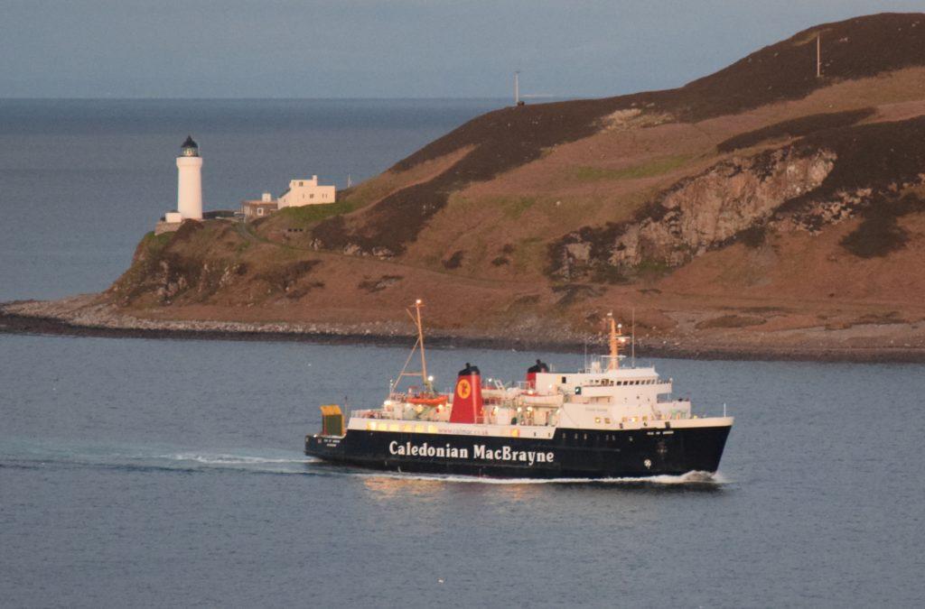 The MV Isle of Arran entering Campbeltown Loch last Thursday evening.