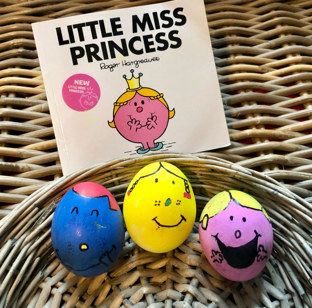 These colourful eggs are decorated as Little Miss characters.