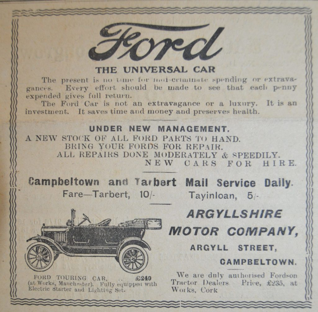 In 1921: 'Any customer can have a car painted any colour that he wants, so long as it's black,' said Henry Ford. The princely sum of £240 would get you a brand new Ford Touring car from the Ford works in Trafford Park, Manchester, through the Argyllshire Motor Company, on Argyll Street, where Ramsay Place stands today.