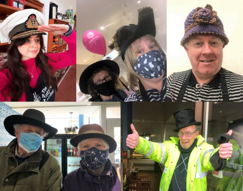 Participating in 'Wear A Hat Day' were, top row, from left to right: Kintyre Larder staff Sarah Thompson, Margaret Sinclair, Linda McLean and David McCallum. Bottom, from left: customers David and Jane Mayo, who donated many fantastic hats; and Argyll Bakeries delivery driver Alex Roxburgh.