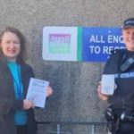 A representative of Argyll and Bute Trading Standards, left, and PC Laura Evans, right, are encouraging people to apply for a call-blocker device.