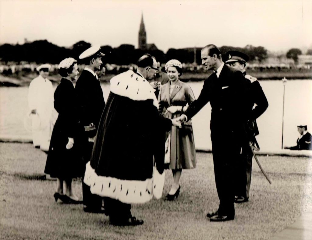 Prince Philip shakes hands with Campbeltown Provost Archibald Keith during the royal visit in 1958.