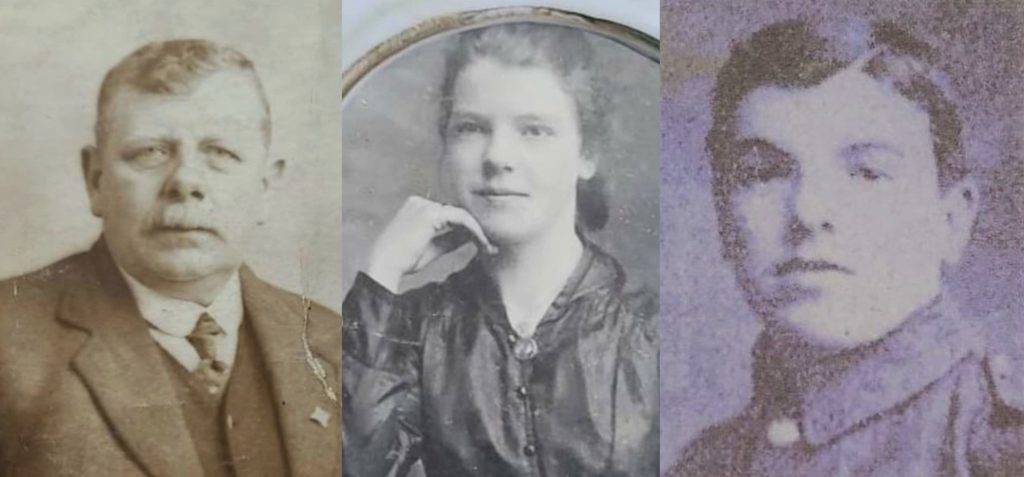 From left to right: Alexander McNab, Grace McNab Bridge and Private Andrew McNab.