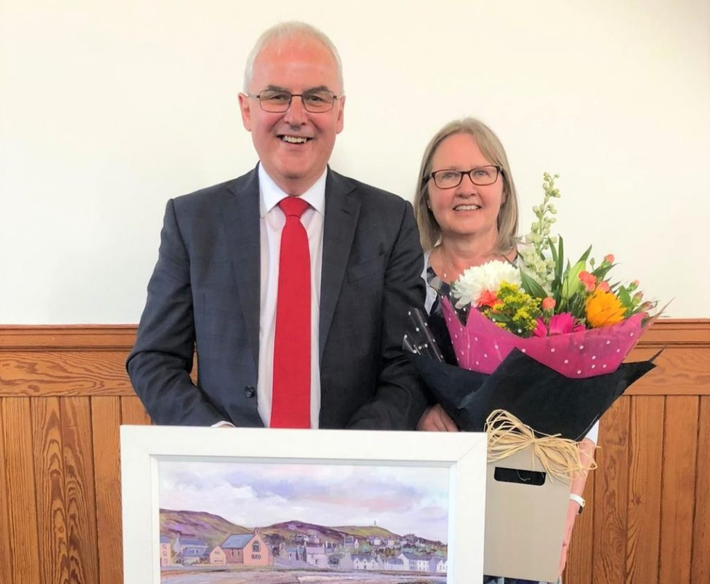 Rodger and Joan Crooks following last Sunday's service and presentation.
