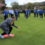 Frances Brown rolled the first jack at Campbeltown Bowling Club.