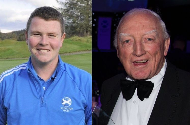 Golfer Robert MacIntyre, left, has been praised for travelling from his home in Oban to pay tribute to legendary golf writer Jock MacVicar, right. Photograph of Jock: Kenny Smith.