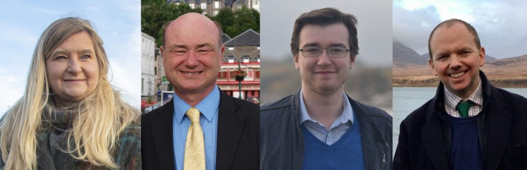 The four candidates standing for election to the Argyll and Bute Scottish Parliamentary constituency, from left: Jenni Minto, Alan Reid, Lewis Whyte and Donald Cameron.