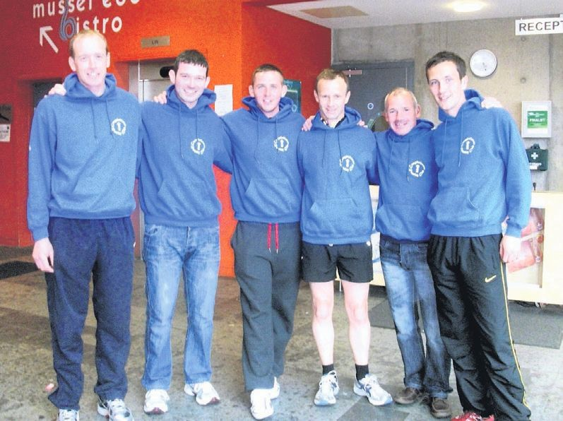 In 2011: Kenny Campbell, Stuart McGeachy, Tommy Morran, Charlie Dott, Hector McMurchy and Scott MacBrayne set a new record for the annual Kintyre Way relay.