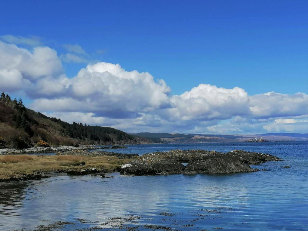 Debra Clarke, who took this photograph along Shore Road in Carradale, submitted this image, in which a bank of white clouds separates the azure of the sky and the aquamarine of the sea.