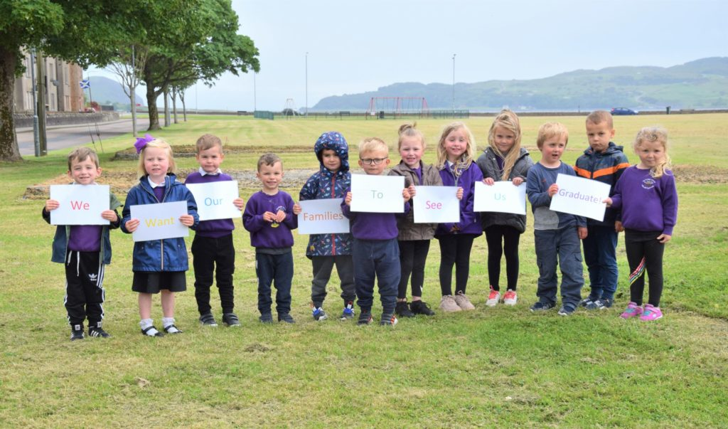 The youngsters want their families to be present at their nursery graduation.