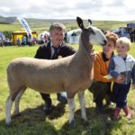 John and Jean McLachlan, with grandson Joshua, three, and the 2017 Kintyre Agricultural Society champion of champions. 50_c32kintyreshow45_mclachlan sheep