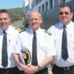 In 2011: Captain David Allen, centre, with Harbour Master Stephen Scally, left, and assistant David Martin; all three used to work on fishing vessels in Campbeltown together.