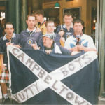 From left: Campbeltown's Robert McDonald, David Paterson, Tommy Kennedy, James Lafferty, Keir MacIntyre and Arthur Crossan in Paris during France '98.