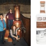 The Lussa Gin team, from left: Georgina Kitching, Alicia MacInnes and Claire Fletcher, alongside a bottle of the special USA edition of Lussa Gin.