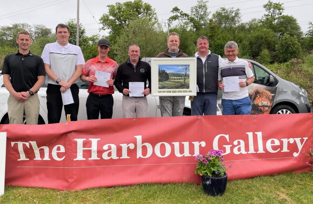 Stuart Herd of the Harbour Gallery, third from the right, with some of the prize-winners.