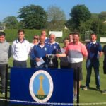 Finalists, semi-finalists and sponsors of the Archie Johnston memorial pairs. Winners John Mclean and Robert Coffield are at the front, holding the trophy.