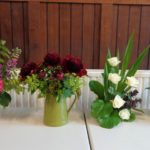 Some of the flower club's colourful creations.