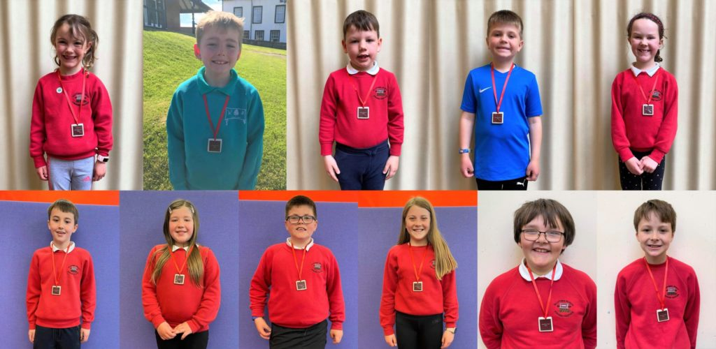 The 'top milers' from Dalintober and Glenbarr Primary Schools.