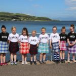 The young Highland dancers who stepped out to boost the playpark campaign. Photograph: Kenny Craig.