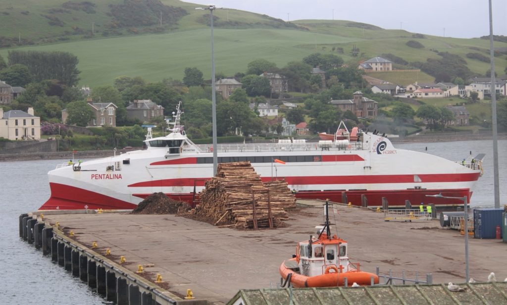 The MV Pentalina catamaran carried out berthing trials in Campbeltown last weekend. Photograph: Steve Byrne.